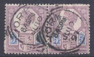 Gb Sg207a Qv 5d Dull Purple & Blue Pair Our Ref K256 Jubilee Issue Die Ii photo
