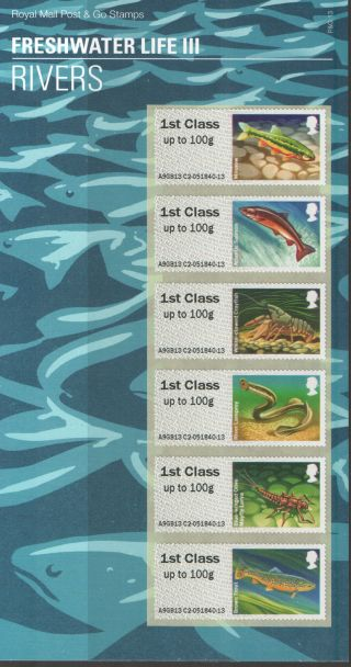 2013 Post & Go Freshwater Life 3: Rivers Royal Mail Presentation Pack P&g13 Um photo