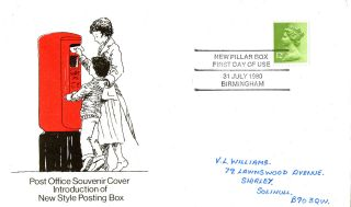 31 July 1980 Pillar Box Birmingham Commemorative Cover Birmingham Shs photo