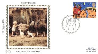 (52614) Fdc Benham Silk - 1981 Christmas - Three Kings Childrens Painting photo