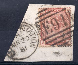 Gb = Railway Cancel.  On Qv Stamp,  `e94 / Gloucester Station` Duplex.  1d Venetian photo