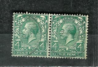 Great Britain 193 King George V Pair Wmk 35 4 Pence Green photo