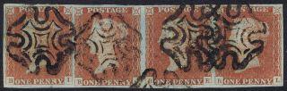 1841 1d Red Plate 26 Bi - Bl Fine Four Margin Strip Of 4 photo