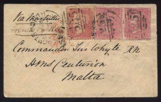 Malta From Gb Qv 1857 Maritime 2 X 4d + 1d. . .  Hms Centurion photo