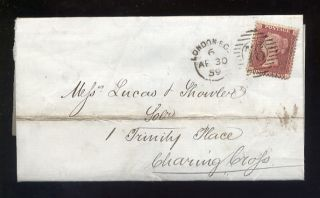 Penny Red Star 1859 Cover. .  Skinner Street Snow Hill Udc photo