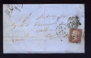 Penny Red Star Red Brown 1856 Cover. .  North West Railway photo