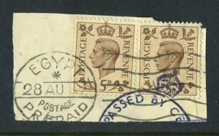 Kgvi 1938.  2 X 5d Brown On Piece.  Egypt Prepaid.  Passed By Censor. photo