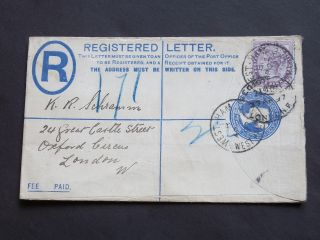 Gb Stationery 1897 Qv Uprated 2d Blue Registered Envelope West Ham To London W photo