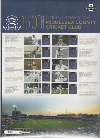 2014 Middlesex County Cricket Club Royal Mail Commemorative Smilers Type Sheet photo
