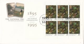 (19722) Gb Fdc National Trust Full Booklet Pane - 25 April 1995 Bureau photo