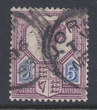 Gb Sg207a Qv 5d Dull Purple & Blue Our Ref K282 Jubilee Issue Die Ii photo