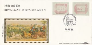 (72869) Gb Fdc Frama 16.  5p 17p - Windsor 28 August 1984 - Benham photo