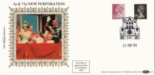 (72875) Gb Fdc 75p 5p Machin Perforation - London Sw1 21 Feb 1984 - Benham photo