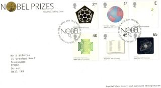 Gb 2001 Nobel Prizes Royal Mail Fdc With Tallents House Pictorial Fdi Typed Addr photo