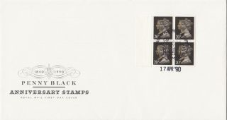 (29082) Clearance Gb Fdc Penny Black 80p Booklet Pane 20p Windsor 17 Apr 1990 photo