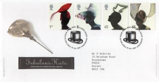 Gb 2001 Fashion Hats Royal Mail Fdc With Tallents House Pictorial Fdi Typed Add. photo