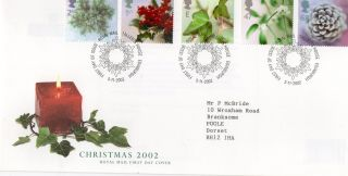 Gb 2002 Christmas Royal Mail Fdc With Tallents House Pictorial Fdi Typed Addr photo