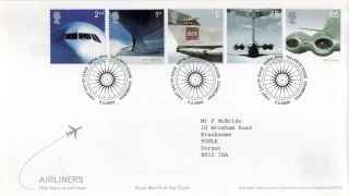 Gb 2002 Airliners Royal Mail Fdc With Tallents House Pictorial Fdi Typed Addr photo