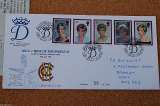 1976 Vintage Official Mcc V Rest Of World Lords Cricket Special Fdc Lady Diana photo