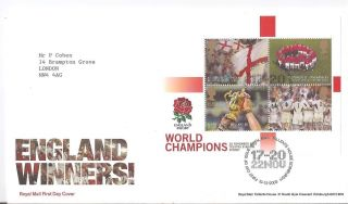(70702) Fdc Gb Rugby England Winners Minisheet 2003 Tallents House Postmark photo