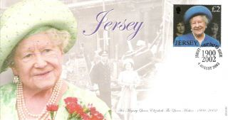Jersey Hm The Queen Mother 1900 - 2002 Fdc Fdi Jersey 2002 Shs Canc photo