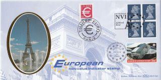 (73631) Gb Benham Fdc E Europe Machin / France 1st Euro Stamp January 1999 photo