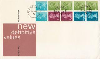 (29097) Gb Rm Fdc 50p Booklet Pane 8.  5p 6.  5p 1p 0.  5p Glasgow Cds 26 January 1977 photo