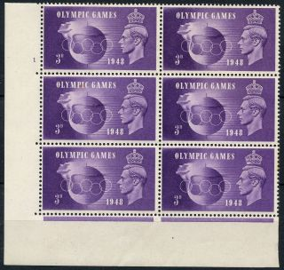 Sg 496 1948 Olympics 3d Cyl 1 No Dot Bl Of Six Sg 496a Crown Flaw (ref: E3314) photo
