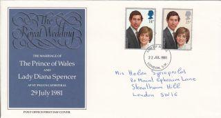 (72979) Gb Fdc Princess Diana Wedding - 22 July 1981 London Sw photo