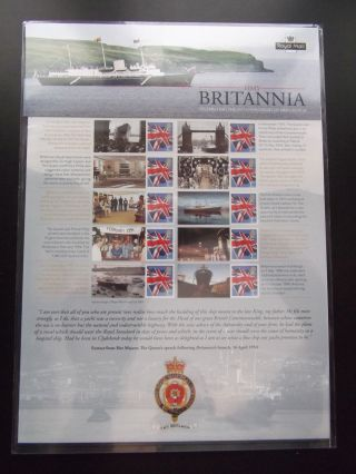 Her Majesty ' S Yacht Britannia Royal Mail Commemorative Smilers Type Sheet photo