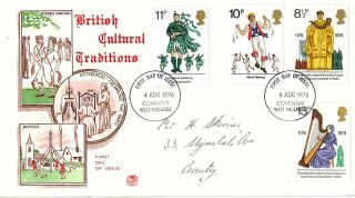 4 August 1976 British Cultural Traditions Stuart First Day Cover Coventry Fdi photo