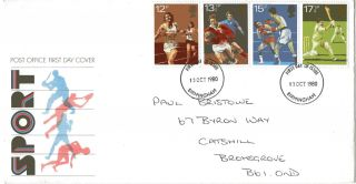 10 October 1980 Sport Centenaries Post Office First Day Cover Birmingham Fdi photo