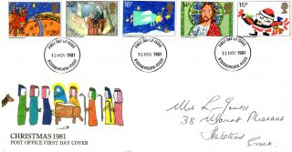 18 November 1981 Christmas Post Office First Day Cover Bournemouth Fdi photo