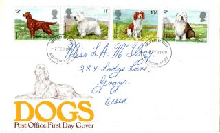 7 February 1979 Dogs Post Office First Day Cover Romford Essex Fdi photo