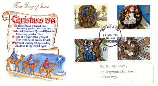 27 November 1974 Christmas Stuart First Day Cover Coventry Fdi photo