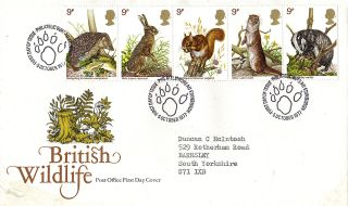 5 October 1977 British Wildlife Post Office First Day Cover Bureau Shs photo