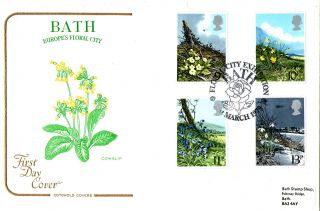 21 March 1979 Spring Flowers Cotswold First Day Cover Floral City Bath Shs photo