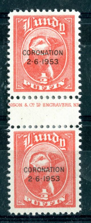 Lundy Island 1953 Coronation Overprints 1/2 Puffin Gutter Pair photo