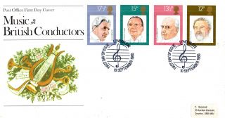 10 September 1980 Famous Conductors Post Office First Day Cover London Sw Shs photo