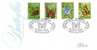 13 May 1981 Butterflies Post Office First Day Cover Leicester Museum Shs photo