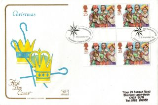1 November 1994 Christmas 25p Gutter Block Cotswold First Day Cover Shs photo