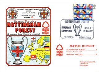 19 September 1979 Nottingham Forest 2 Oesters Vaexjoe 0 Commemorative Cover photo