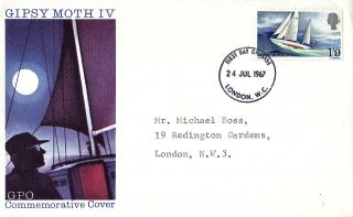 24 July 1967 Sir Francis Chichester Gpo First Day Cover London Wc Fdi photo