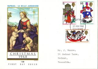 25 November 1968 Christmas Philart First Day Cover Middlesbrough Fdi photo