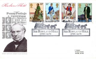22 August 1979 Sir Rowland Hill Post Office First Day Cover Warwick Coach Shs photo