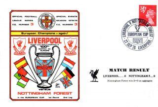 27 September 1978 Liverpool V Nottingham Forest Commemorative Cover photo