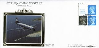 30 January 1990 50p Booklet Pane Cyl Benham D 127 First Day Cover Heathrow Shs photo