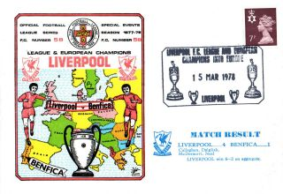 15 March 1978 Liverpool 6 Benfica 2 European Cup Commemorative Cover photo