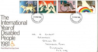25 March 1981 Year Of Disabled People Post Office First Day Cover Plymouth Fdi photo