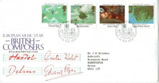 14 May 1985 British Composers Royal Mail First Day Cover Worcester Shs photo